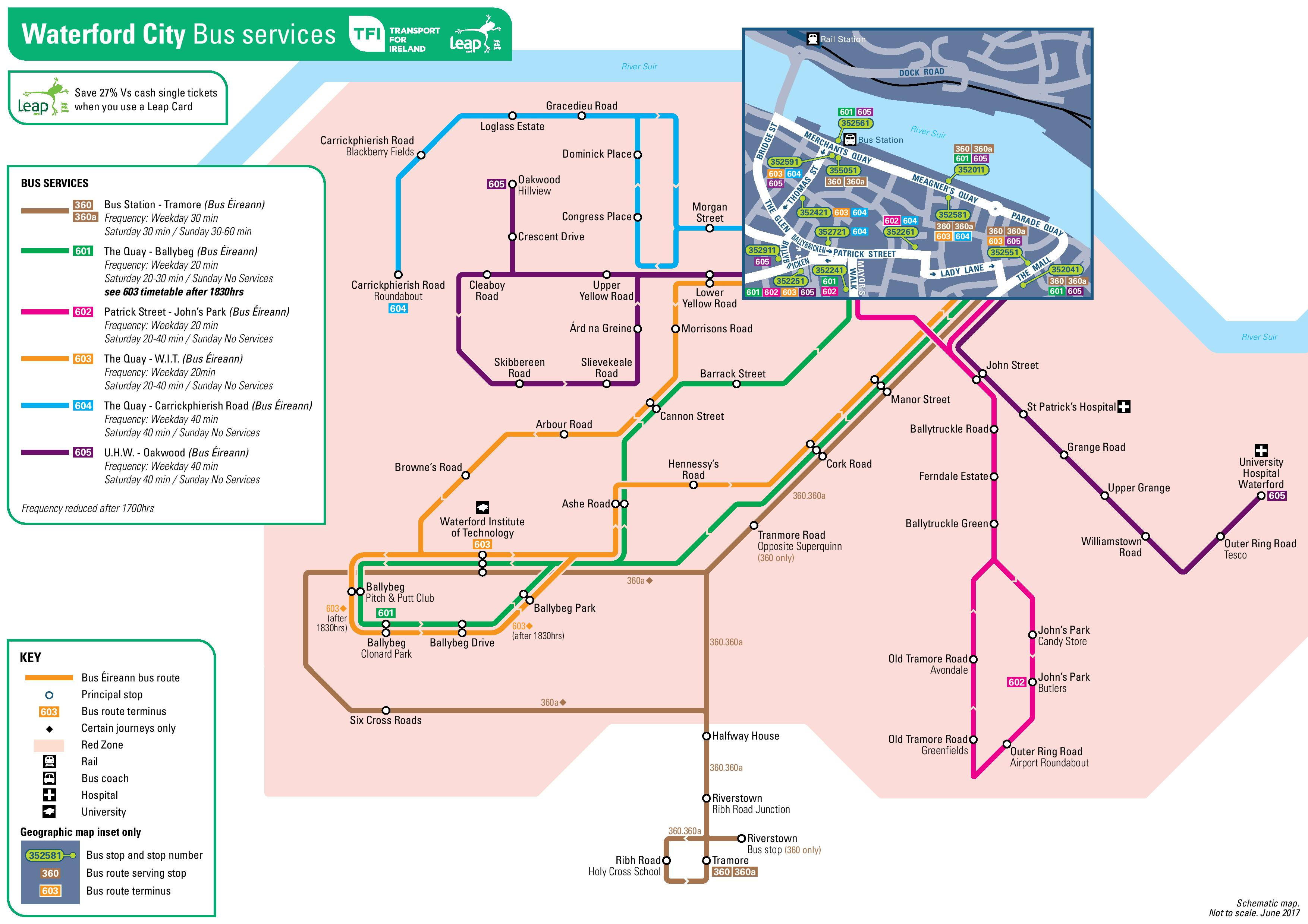 Leap Card Waterford map